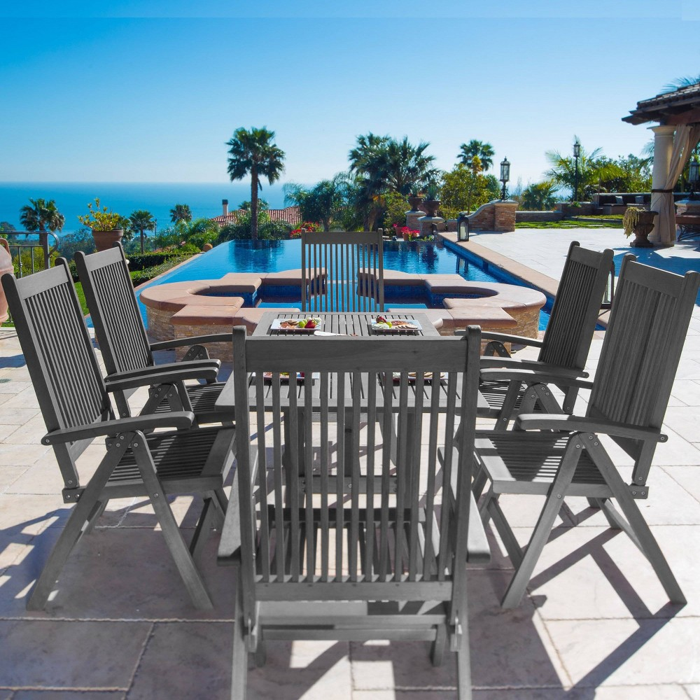 Renaissance Outdoor Patio Hand-Scraped Wood 7pc Dining Set with Reclining Chairs, Mid Gray