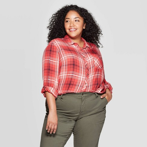 Women's Plus Size Plaid Long Sleeve Collared Button-Down Shirt - Universal Thread™ Red - image 1 of 3