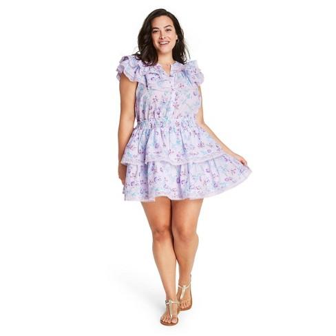 Women's Lou Double Ruffle Dress - LoveShackFancy for Target (Regular & Plus) Lavender Purple - image 1 of 4