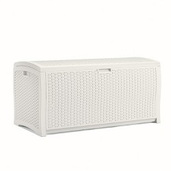 Suncast 99 Gallon Heavy Duty Resin Wicker Horizontal Outdoor Deck Box, White