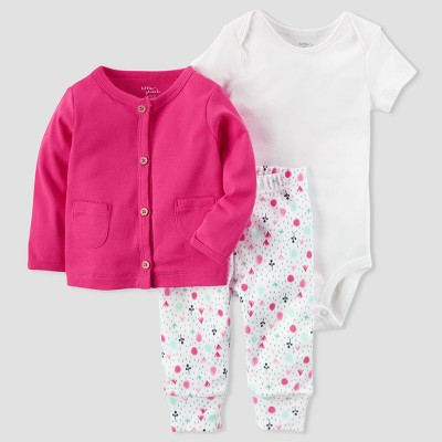 Baby Girls' Cardigan and Floral Pant Set - little planet™ organic by carter's® Pink 9M