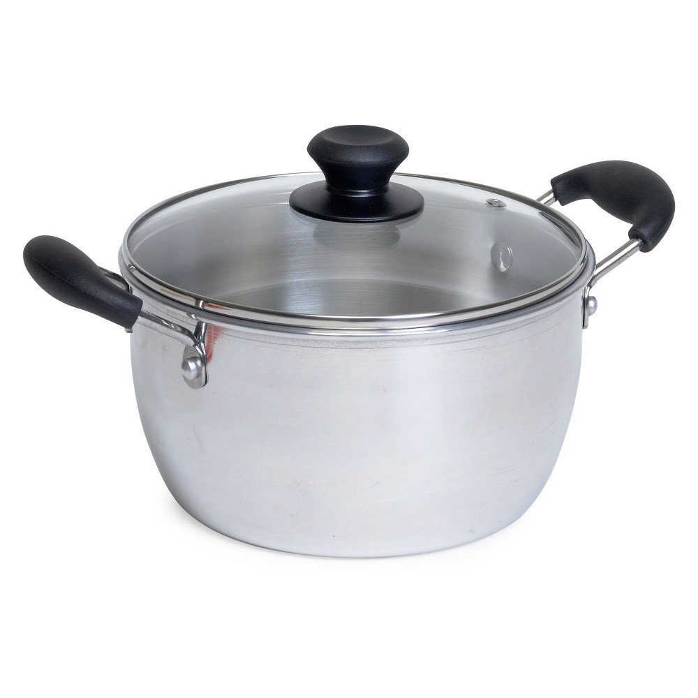 Imusa 4qt Aluminum (Silver) Pot with Glass Lid and Bakelite Handles