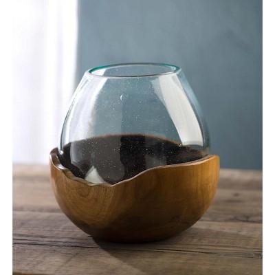 VivaTerra Blown Glass Vase with Teak Base- Small