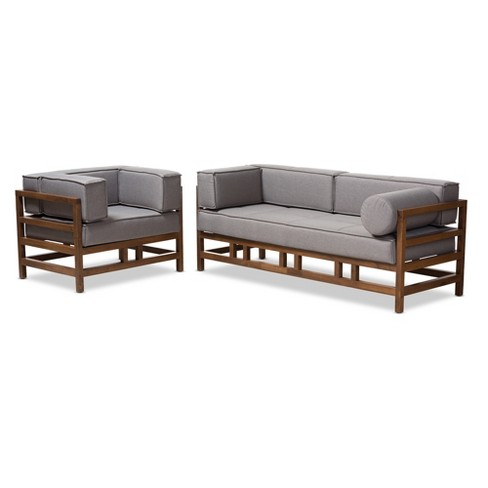 Modern Walnut Living Room Furniture shaw midcentury modern fabric upholstered walnut wood 2pc living