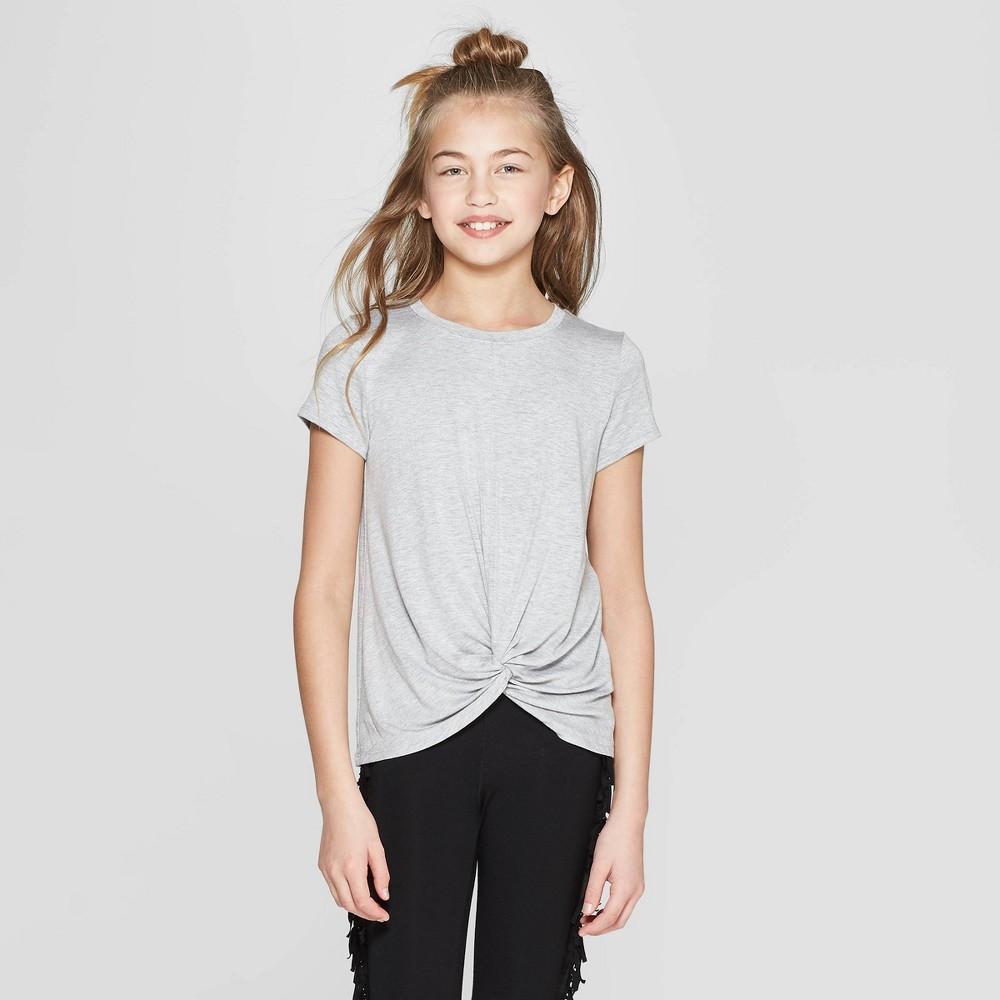 Girls' Short Sleeve Twist Front T-Shirt - art class Heather Gray M