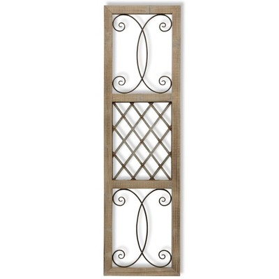 """64.75"""" Traditional Rectangle Aspire Scroll Metal and Wood Decorative Wall Art - StyleCraft"""