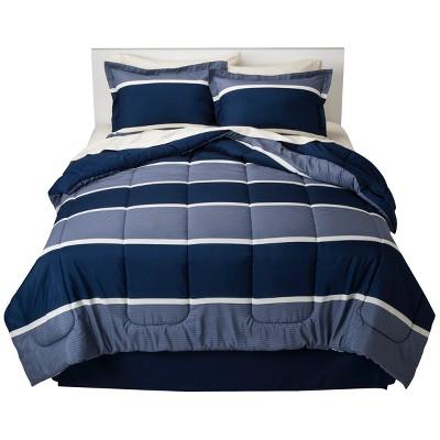 Dark Blue Classic Stripe Bed In A Bag (Full)- Room Essentials™