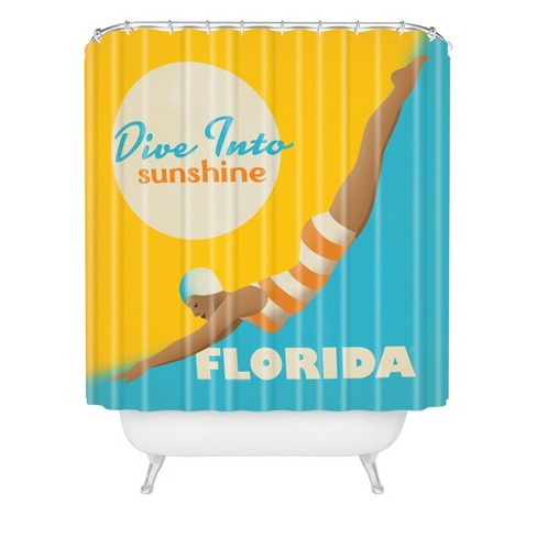Dive Florida Shower Curtain Yellow Blue