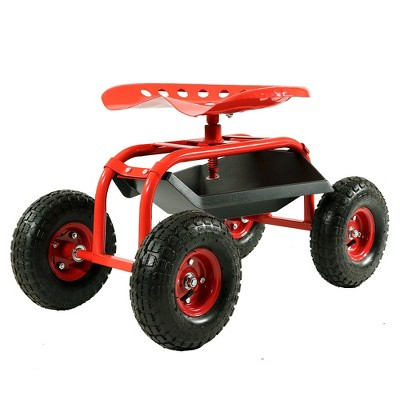Rolling Garden Cart with Swivel Seat and Tray - Red - Sunnydaze Decor