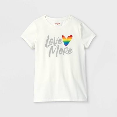 Girls' Love More Graphic Short Sleeve T-Shirt - Cat & Jack™ Cream