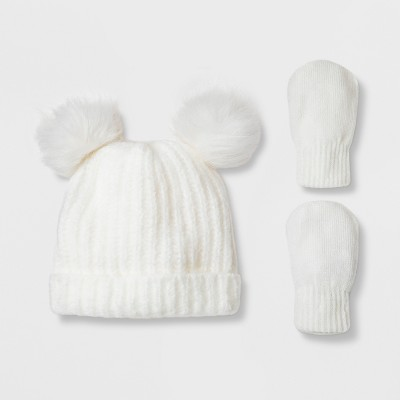 Toddler Girls' Faux Fur Pom Beanie Hat and Mitten Set - Cat & Jack™ Cream 12-24M