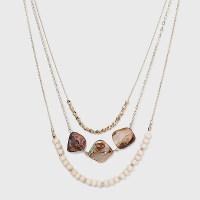 Multi Row Necklace with Wooden Beads and Dyed Shell - A New Day™ Gold