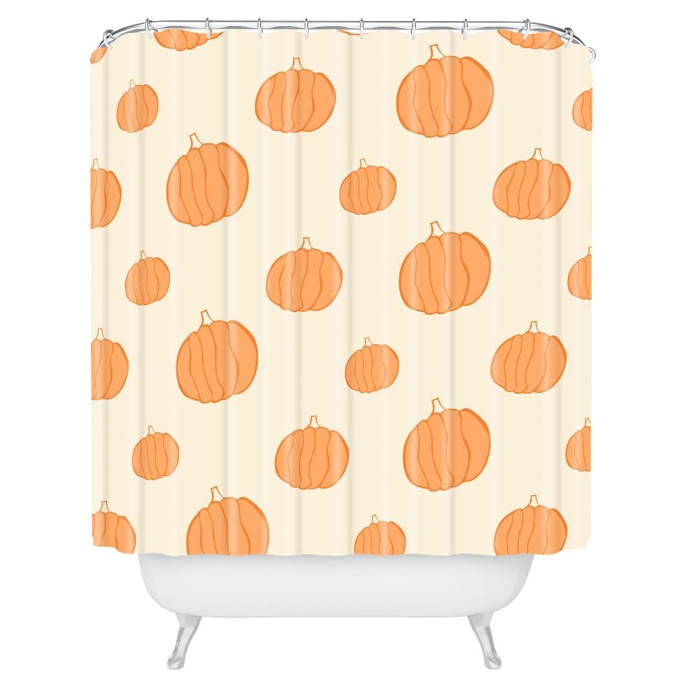 Image of Allyson Johnson Pumpkins Shower Curtain Orange - Deny Designs