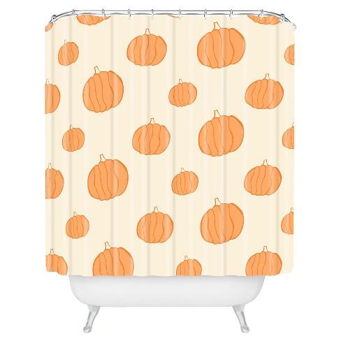 Allyson Johnson Pumpkins Shower Curtain Orange