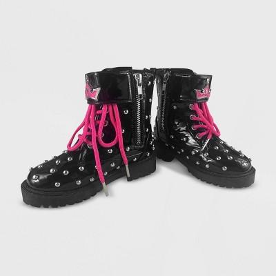 Girls' Disney Princess Combat Boots - Black