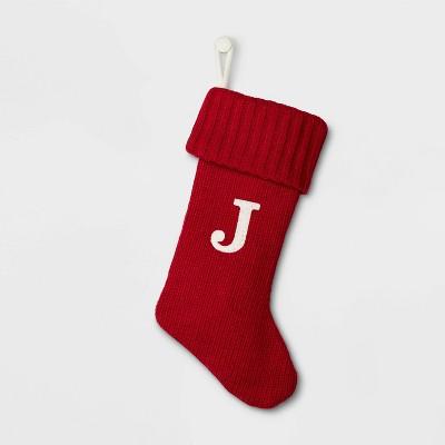 Knit Monogram Christmas Stocking Red J - Wondershop™