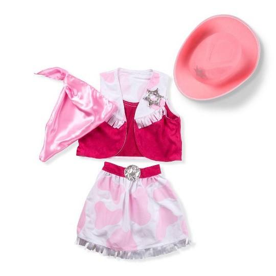 Melissa & Doug Cowgirl Role Play Costume Set (5pcs) - Skirt, Hat, Vest, Badge, Scarf, Adult Unisex, Size: One Size image number null