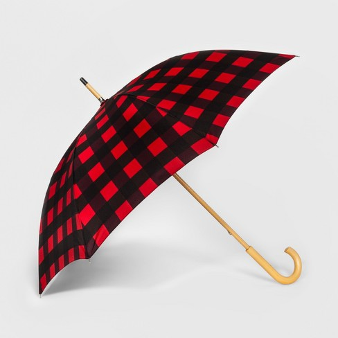 Shedrain Wood Stick Umbrella - Red Plaid - image 1 of 2