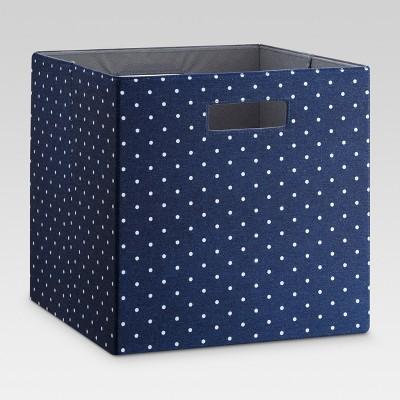 """13"""" Fabric Cube Storage Bin Navy/White - Threshold™"""