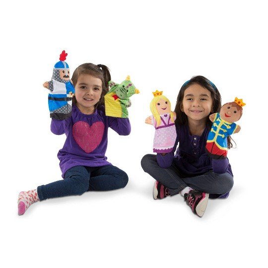 Melissa & Doug Adventure Hand Puppets (Set of 2, 4 puppets in each) - Bold Buddies and Palace Pals image number null