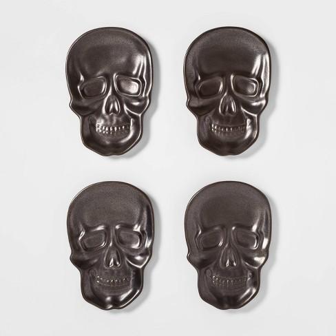 "8.6"" x 5.6"" 4pk Stoneware Skull Appetizer Plates Black - Threshold™ - image 1 of 2"