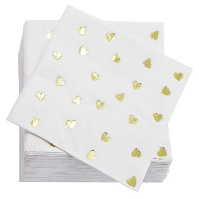 Juvale Gold Heart Cocktail Disposable Paper Napkins (50 Pack) 5 x 5 Inches, Gold Foil