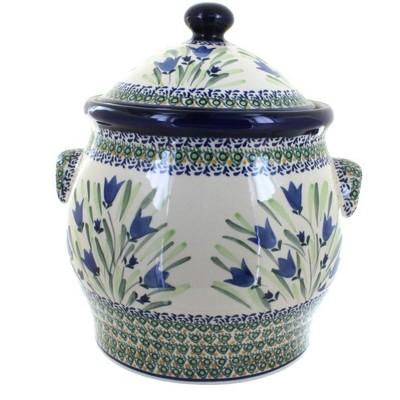 Blue Rose Polish Pottery Blue Tulip Cookie Jar