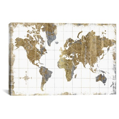 Gilded Map by All That Glitters Canvas Print (18 x26 )