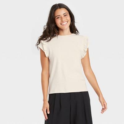 Women's Flutter Short Sleeve Ruffle T-Shirt - A New Day™