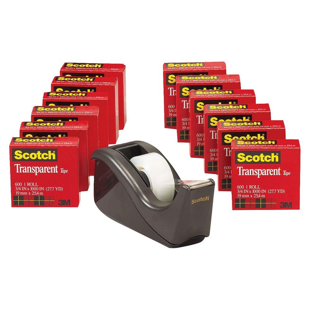 Scotch Transparent Tape Dispenser Value Pack, 1 Core- Black (12 per Pack)