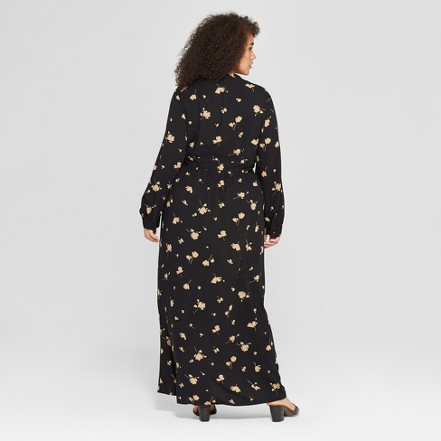 1fe1d1f2b24 Women s Plus Size Floral Print Long Sleeve Maxi Wrap Dress - Who What Wear™  Black