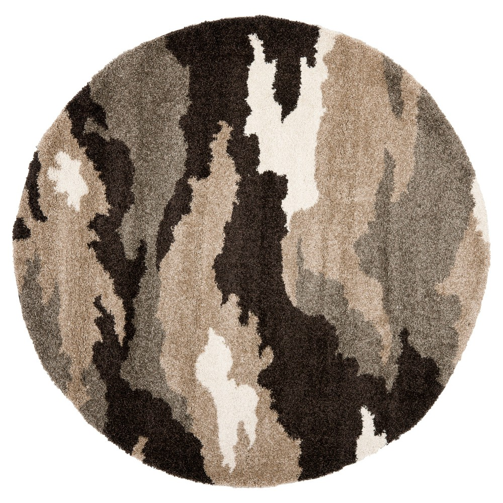 Beige Abstract Loomed Round Area Rug - (6'7 Round) - Safavieh