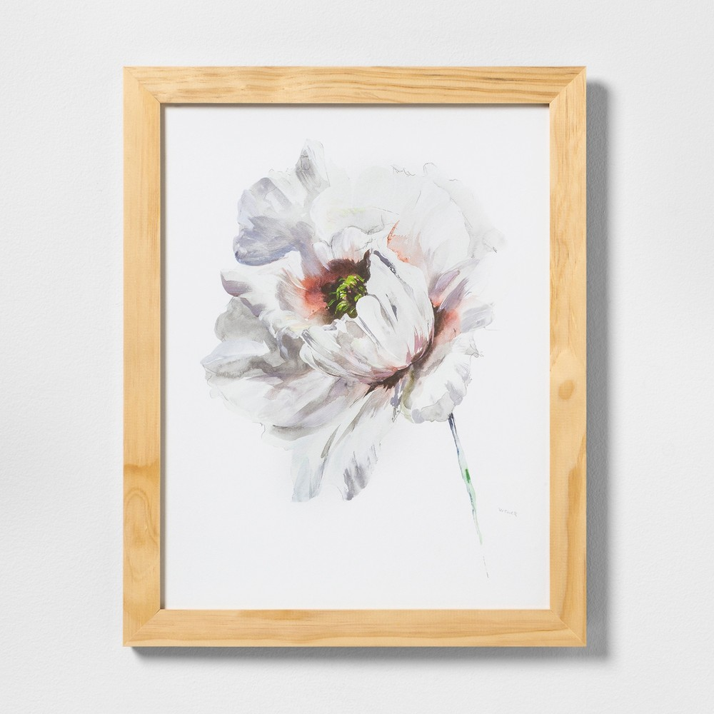 """Image of """"16"""""""" X 20"""""""" White Flower Wall Art with Natural Wood Frame - Hearth & Hand with Magnolia"""""""