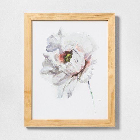 "16"" X 20"" White Flower Wall Art with Natural Wood Frame - Hearth & Hand™ with Magnolia - image 1 of 1"