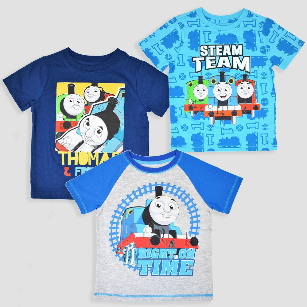 Toddler Boys' 3pk Thomas & Friends Short Sleeve T-Shirt - Blue 5T, Multicolored