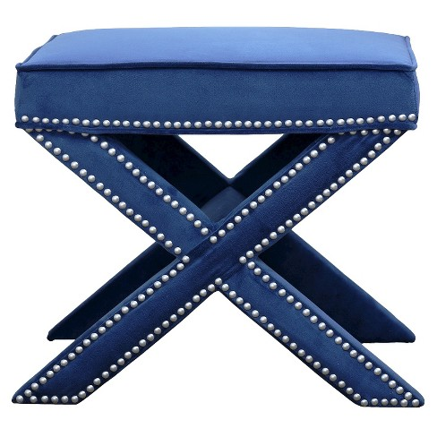 Evelyn Nailhead Trim Ottoman Bench Blue - Abbyson Living - image 1 of 5