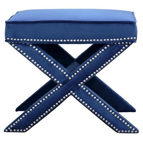 Amazing Evelyn Upholstered Nailhead Trim Ottoman Bench Blue Abbyson Living Theyellowbook Wood Chair Design Ideas Theyellowbookinfo