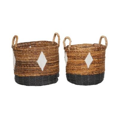 2pk Banana Leaf Storage Baskets Brown - Olivia & May
