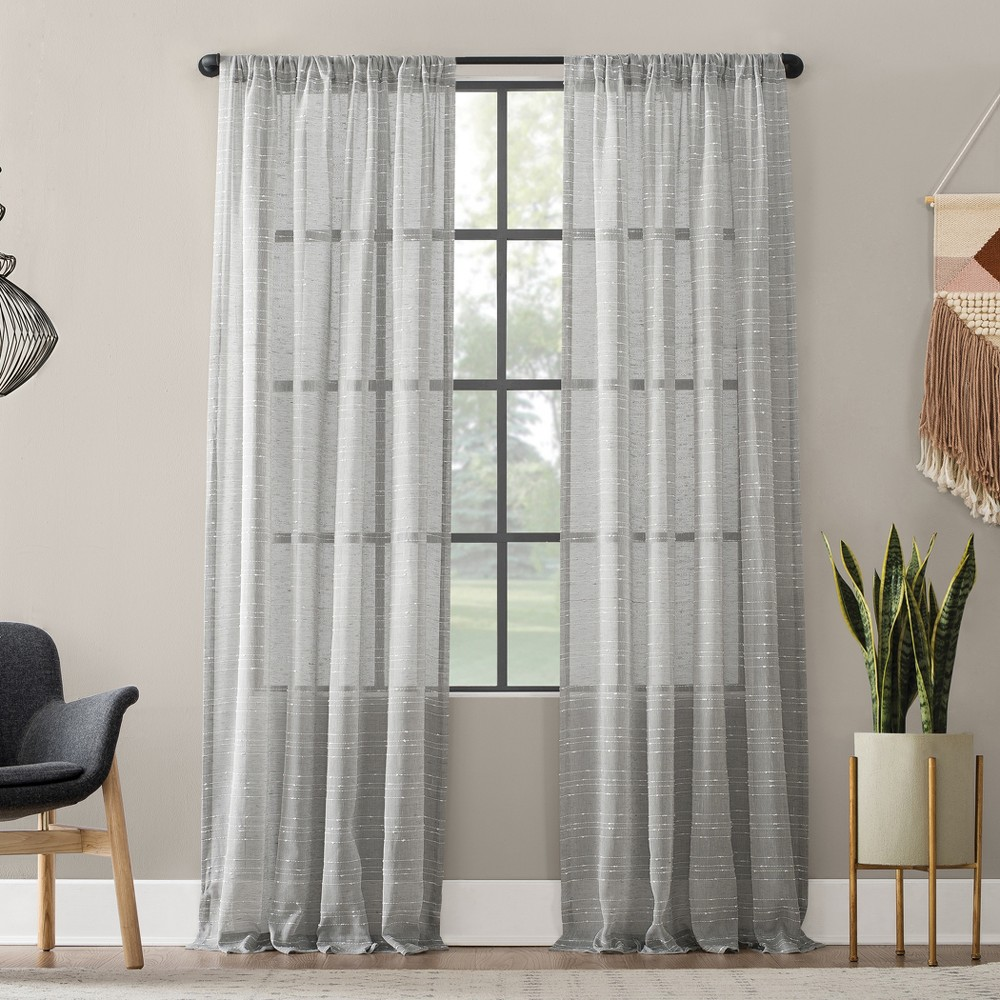 "Image of ""52""""x63"""" Textured Slub Stripe Anti-Dust Curtain Panel Gray - Clean Window"""