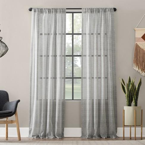 Textured Slub Stripe Anti-Dust Curtain Panel - Clean Window - image 1 of 4