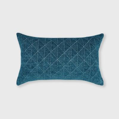 "14""x24"" Oversized Geometric Chenille Woven Jacquard Reversible Lumbar Throw Pillow Teal - freshmint"