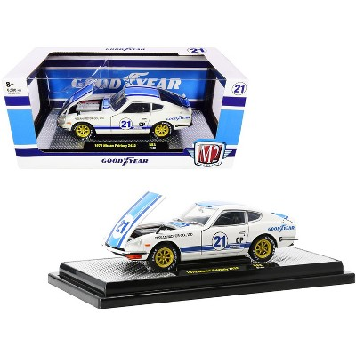 """1970 Nissan Fairlady Z432 #21 """"Goodyear"""" White with Blue Stripes Limited Edition 6500 pcs 1/24 Diecast Model Car by M2 Machines"""