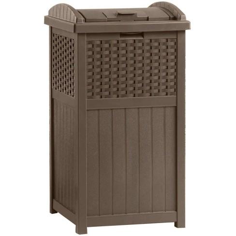 Suncast Ghw1732 Home Outdoor Patio Resin Wicker Trash Can Hideaway 2 Pack Target