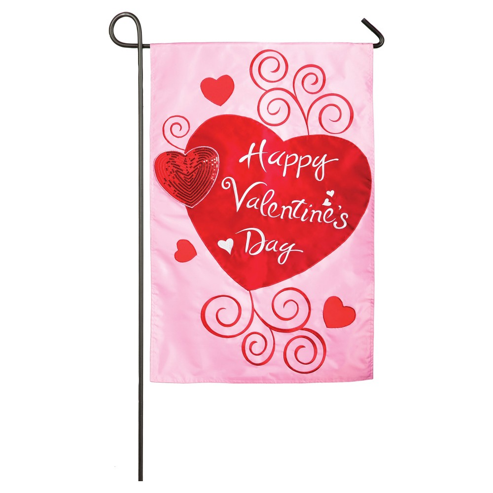Image of Valentine's Day Garden Applique Scroll Hearts Flag