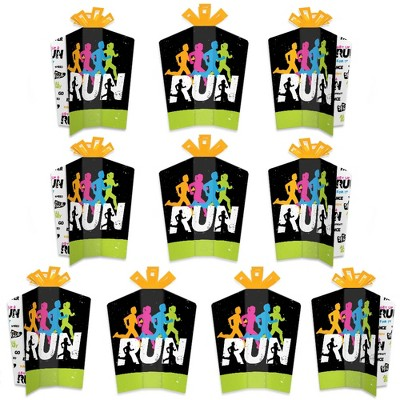 Big Dot of Happiness Set the Pace - Running - Table Decorations - Track, Cross Country or Marathon Party Fold and Flare Centerpieces - 10 Count