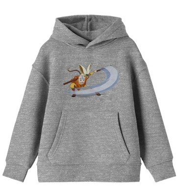 Aang And Momo Athletic Gray Youth Hoodie