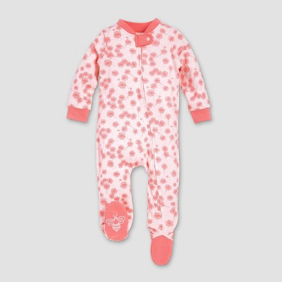 Burt's Bees Baby® Girls' Organic Cotton Dandelion Sleep N' Play - Pink Newborn
