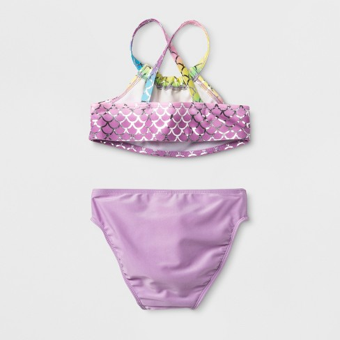 b70a4d4b2c Toddler Girls' 3pc Mermaid Skirt Bikini Set - Cat & Jack™ Purple : Target
