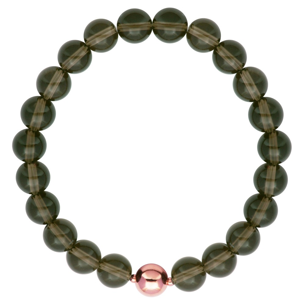 """Image of """"Genuine Smoky Quartz with 14k Rose Gold Over Fine Silver Plated Bronze Accent Bead Stretch Bracelet - 6.5"""""""", Women's, Gray Pink"""""""