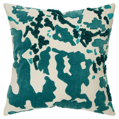 """20""""x20"""" Abstract Polyester Filled Pillow Teal - Rizzy Home"""